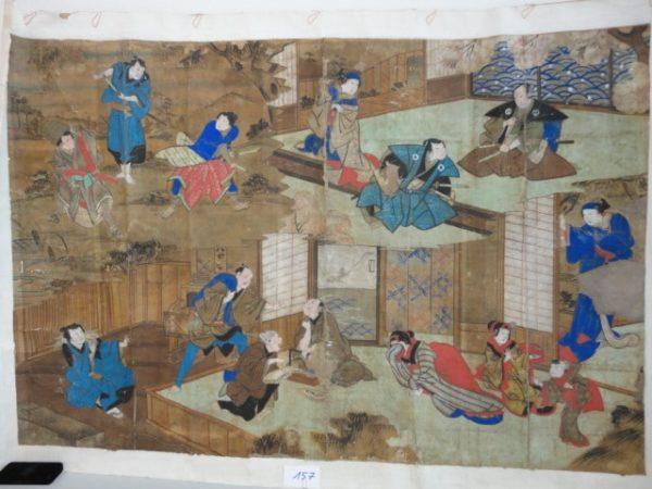 Rare et grande affiche de théâtre peinte XIXème - Gouache sur papier Japon